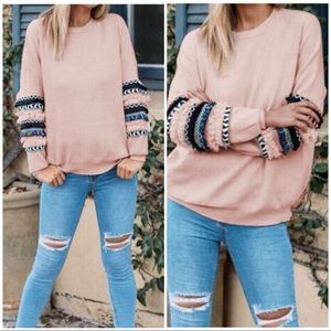 Tops - Pink hand detail pullover top